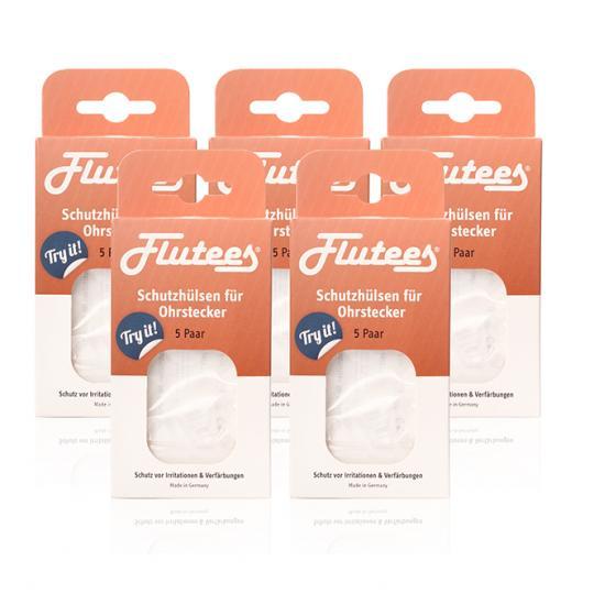 Flutees® Schutzhülsen für Ohrstecker zum Schutz vor Entzündungen und allergischen Reaktionen wie Nickel beim Tragen von Ohrsteckern. 5er Set