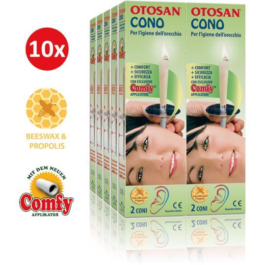 Otosan® Ohrkerzen helfen bei der Entfernung von Ohrenschmalz und Ohrenpfropfen. Mit wohltuendem Propolis. Medizinprodukt. 10er Set.