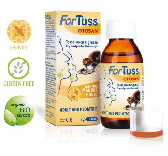 Otosan® ForTuss Hustensirup bei trockenem und verschleimtem Husten. Aus pflanzlichen Inhaltsstoffen. Mit Manuka Honig. Natürlich wirksam. Medizinprodukt.