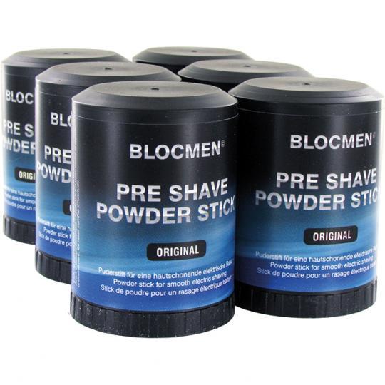 BLOCMEN© Original Pre-Shave - Rasurpuderstift für eine besonders schonende Trockenrasur. Mt Menthol. 6er Set.