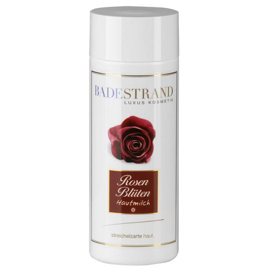 Rosenblüten Hautmilch von Badestrand für entspannte Pflegemomente auf planzlicher Basis