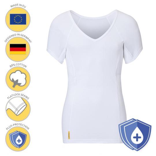 Man-V-classic-PLUS-shirt von manjana® mit besonders saugstarkem Achselnässeschutz für Männer Weiss : XL